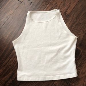 AA white cotton spandex sleeveless crop top